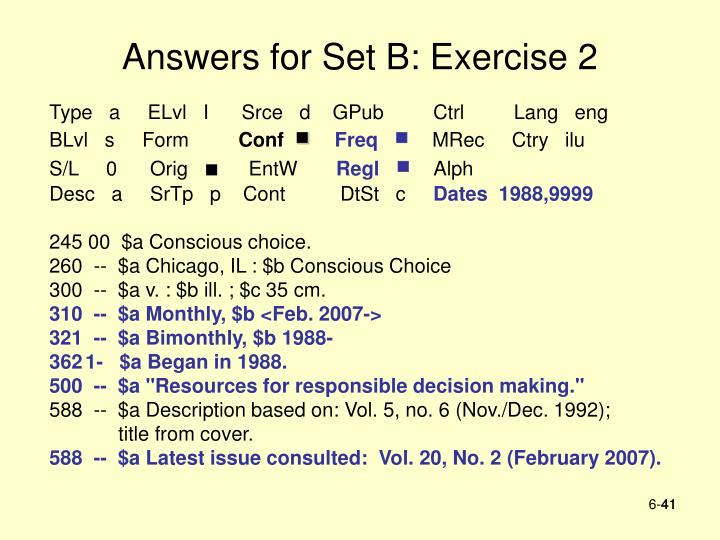 Answers for Set B: Exercise 2