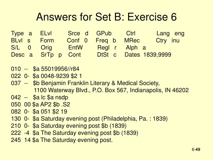 Answers for Set B: Exercise 6