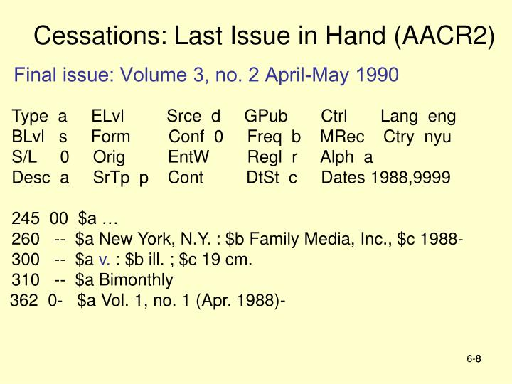Cessations: Last Issue in Hand (AACR2)
