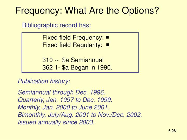 Frequency: What Are the Options?