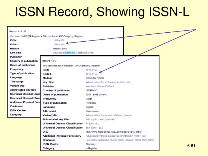 ISSN Record, Showing ISSN-L