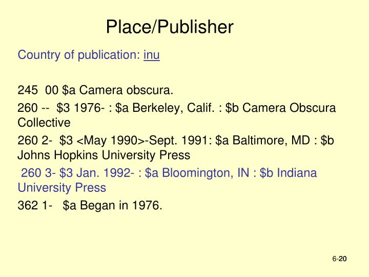 Place/Publisher