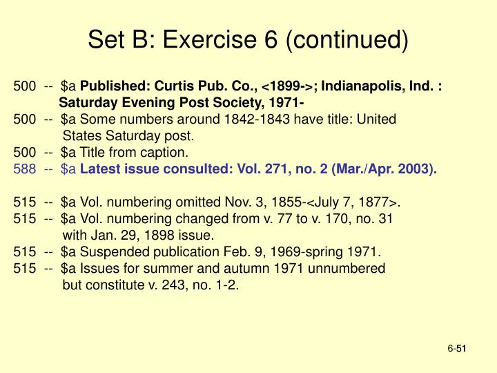 Set B: Exercise 6 (continued)