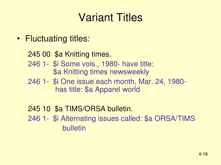 Variant Titles