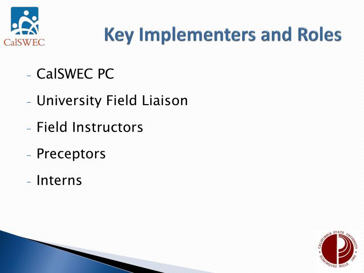 Key Implementers and Roles