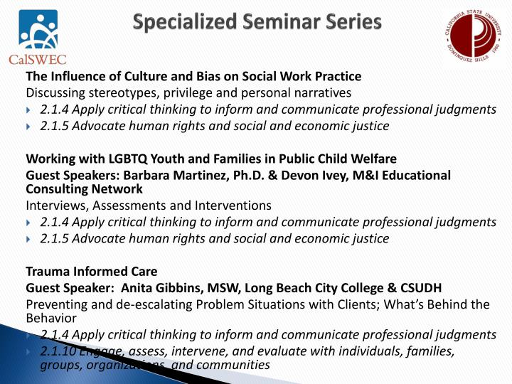 Specialized Seminar Series