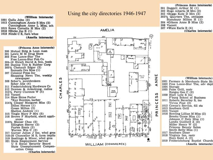 Using the city directories 1946-1947