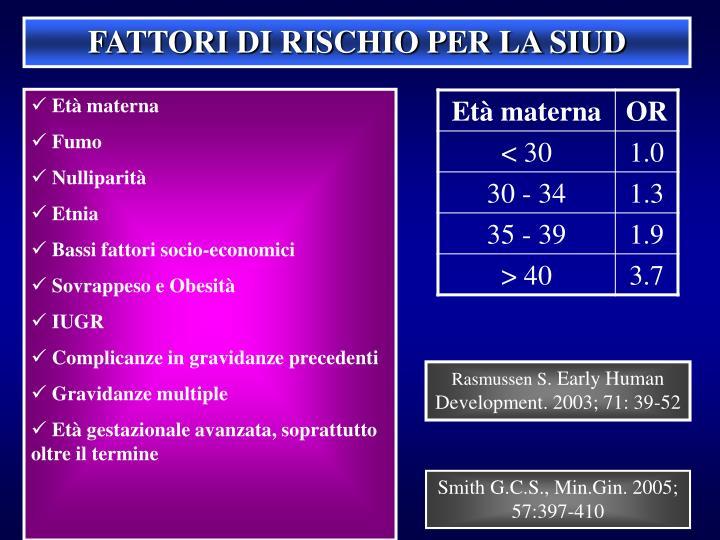 FATTORI DI RISCHIO PER LA SIUD