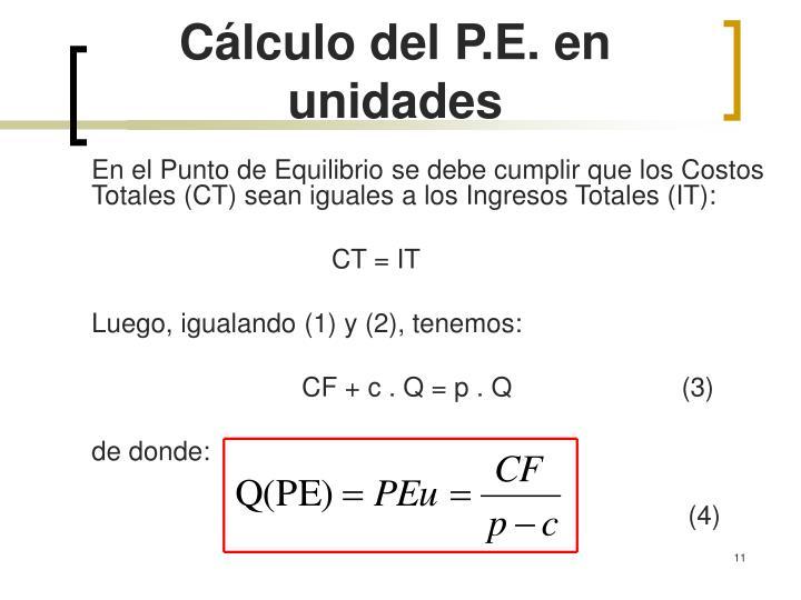 Cálculo del P.E. en unidades