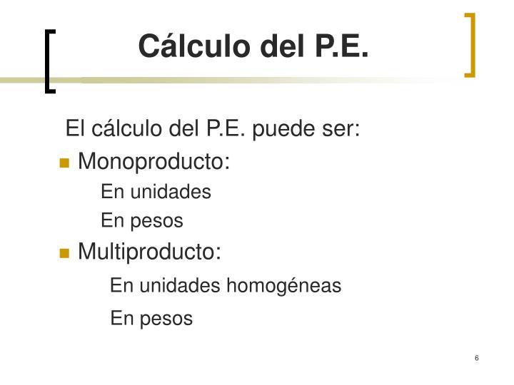 Cálculo del P.E.