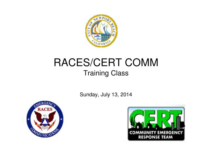 Races cert comm training class