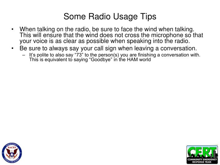 Some radio usage tips
