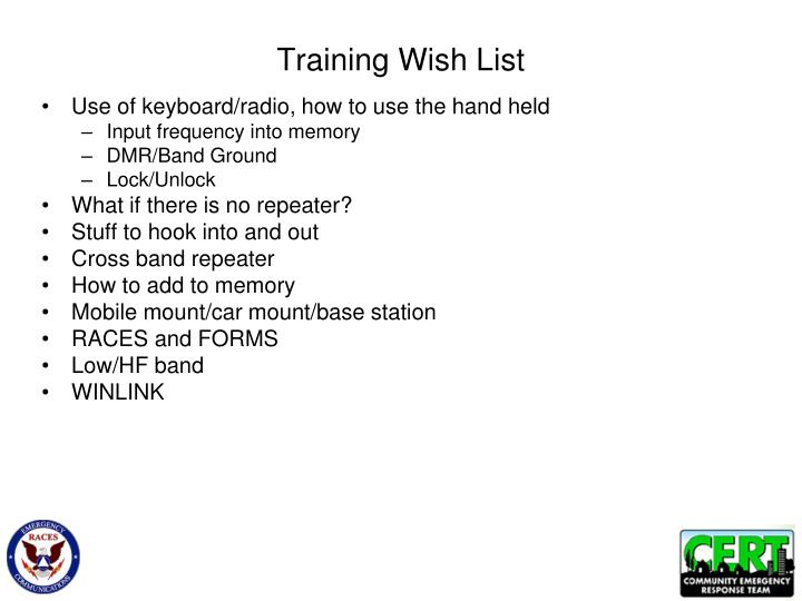 Training wish list