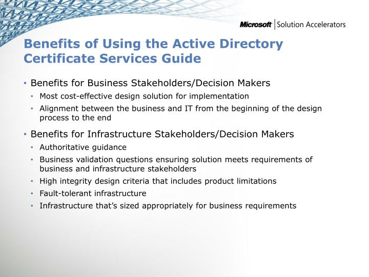 Benefits of Using the Active Directory Certificate Services Guide