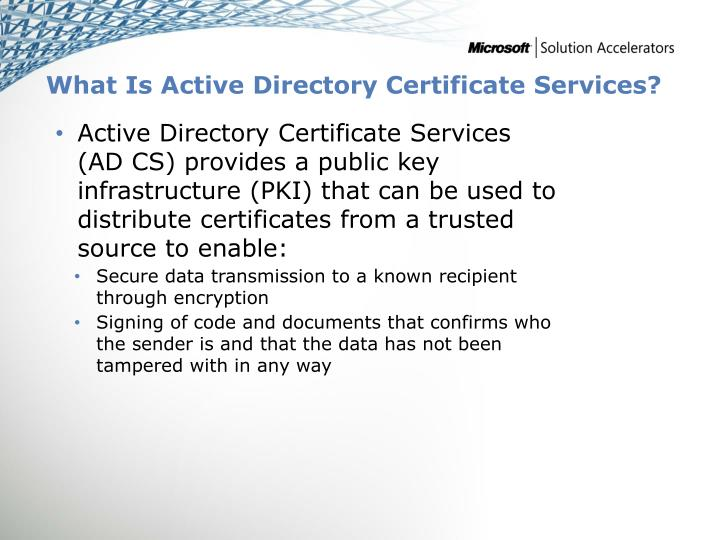 What Is Active Directory Certificate Services?