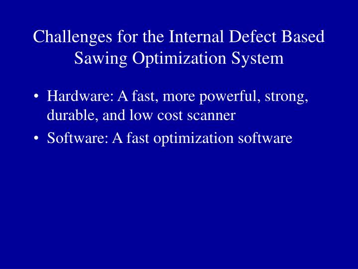 Challenges for the Internal Defect Based Sawing Optimization System