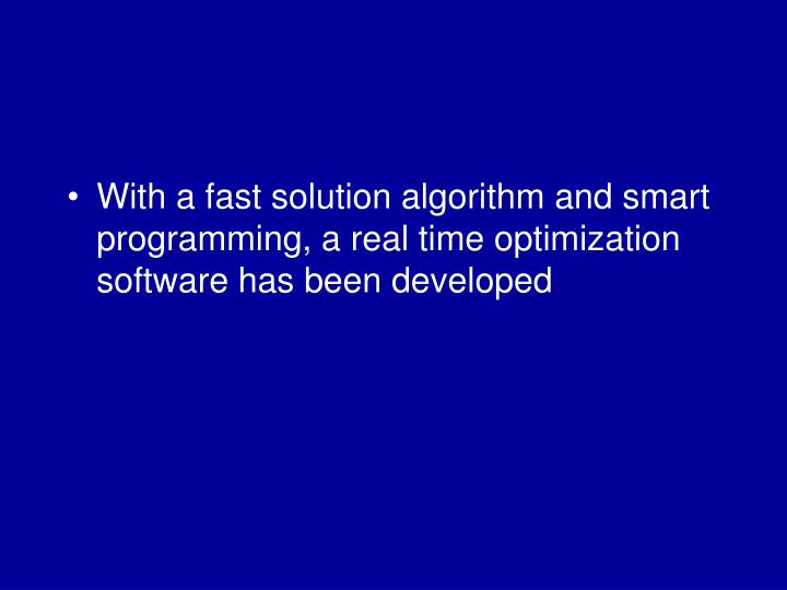 With a fast solution algorithm and smart programming, a real time optimization software has been developed