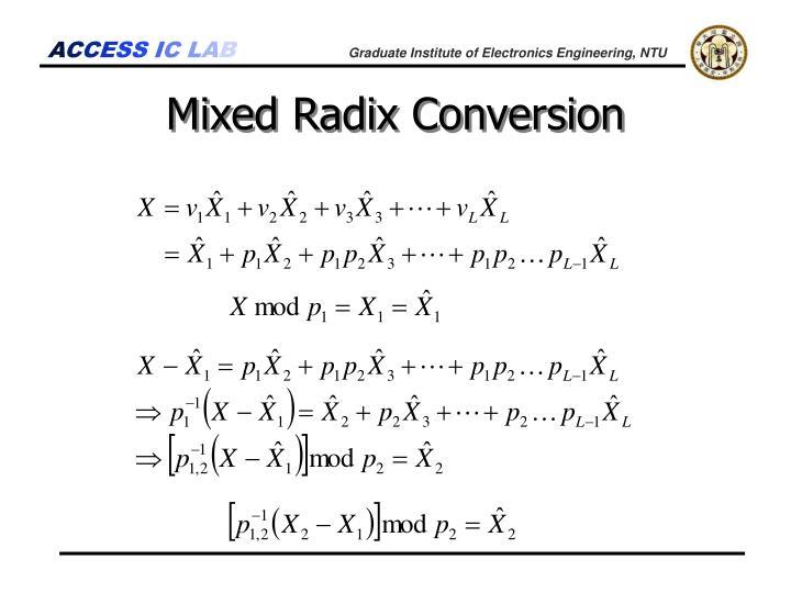 Mixed Radix Conversion