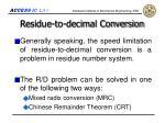 residue to decimal conversion