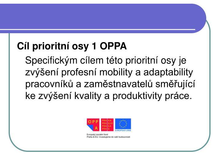 Cíl prioritní osy 1 OPPA