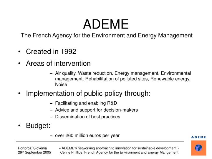 Ademe the french agency for the environment and energy management