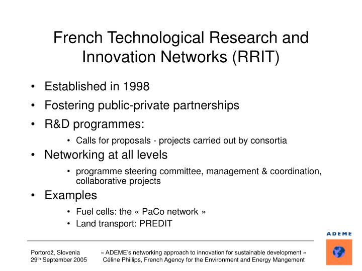 French Technological Research and Innovation Networks (RRIT)