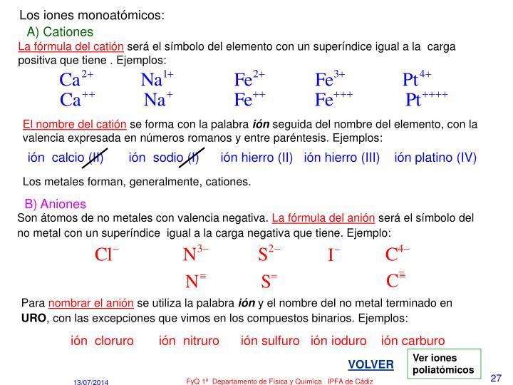 Los iones monoatómicos: