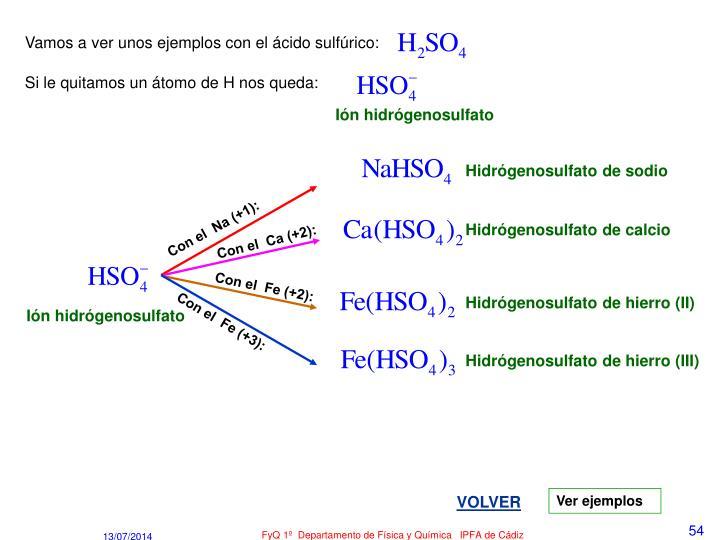 Vamos a ver unos ejemplos con el ácido sulfúrico: