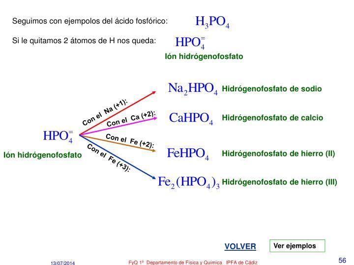 Seguimos con ejempolos del ácido fosfórico: