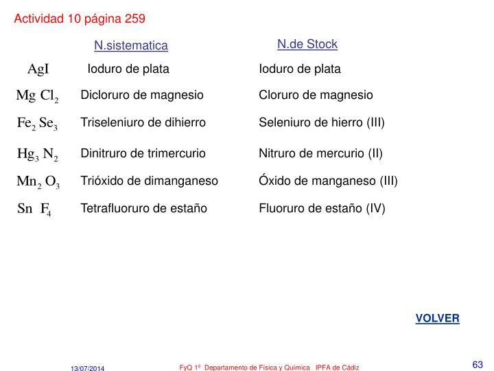 Actividad 10 página 259