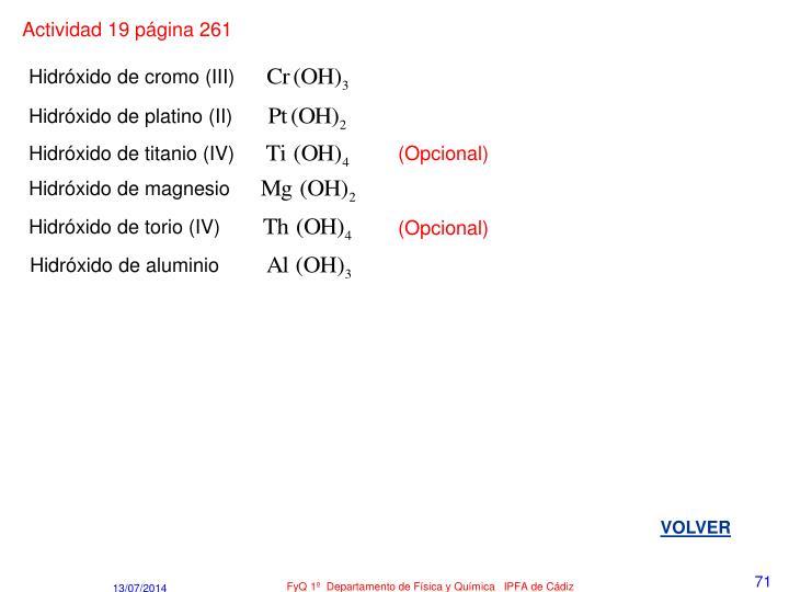 Actividad 19 página 261