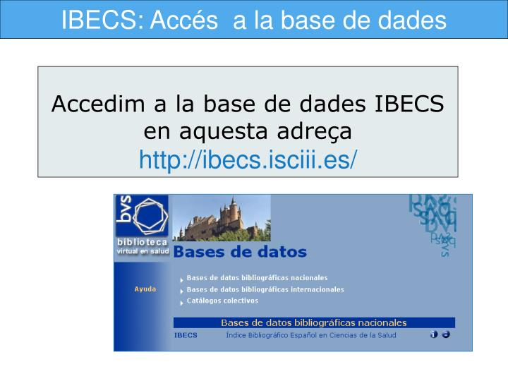 IBECS: Accés  a la base de dades