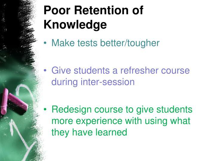 Poor Retention of Knowledge