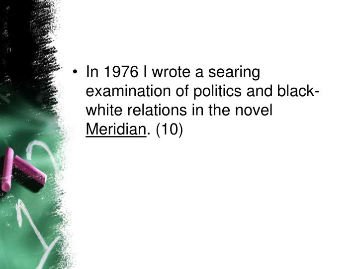 In 1976 I wrote a searing examination of politics and black-white relations in the novel