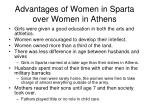 advantages of women in sparta over women in athens