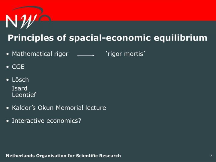 Principles of spacial-economic equilibrium