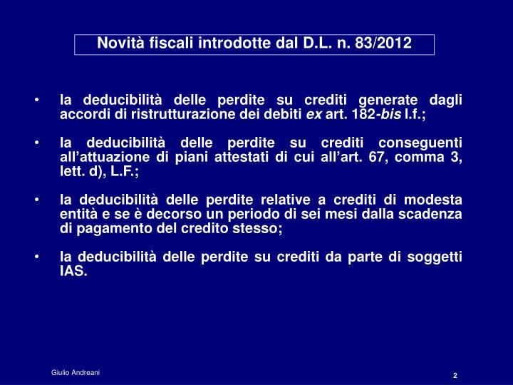 Novità fiscali introdotte dal D.L. n. 83/2012