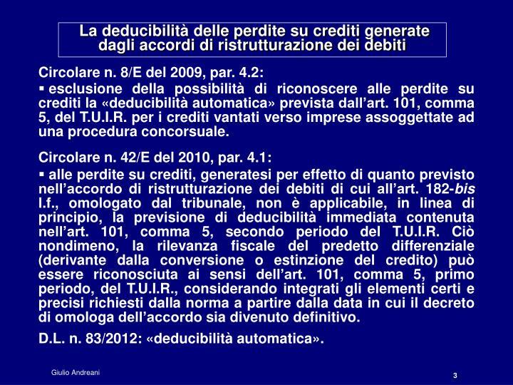 La deducibilità delle perdite su crediti generate dagli accordi di ristrutturazione dei debiti
