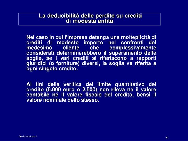 La deducibilità delle perdite su crediti