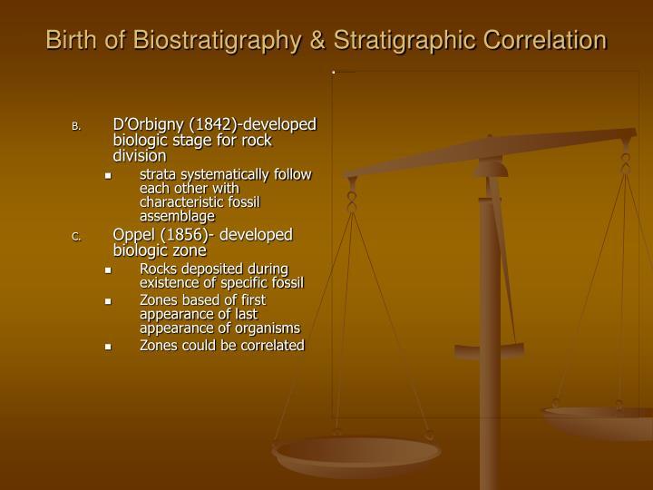 Birth of Biostratigraphy & Stratigraphic Correlation