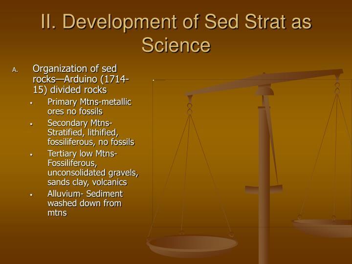 II. Development of Sed Strat as Science
