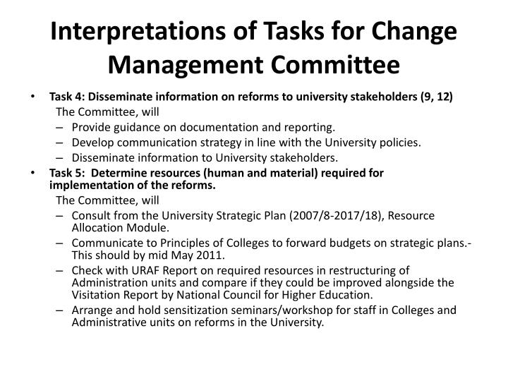 Interpretations of Tasks for Change Management Committee