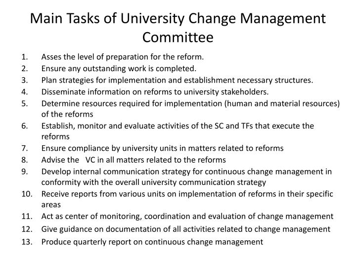 Main tasks of university change management committee
