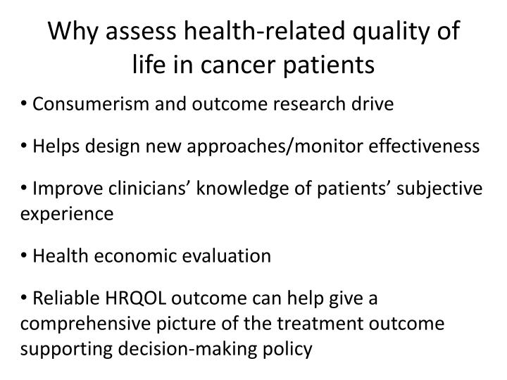 Why assess health-related quality of life in cancer patients