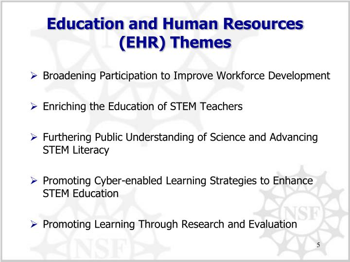 Education and Human Resources (EHR) Themes