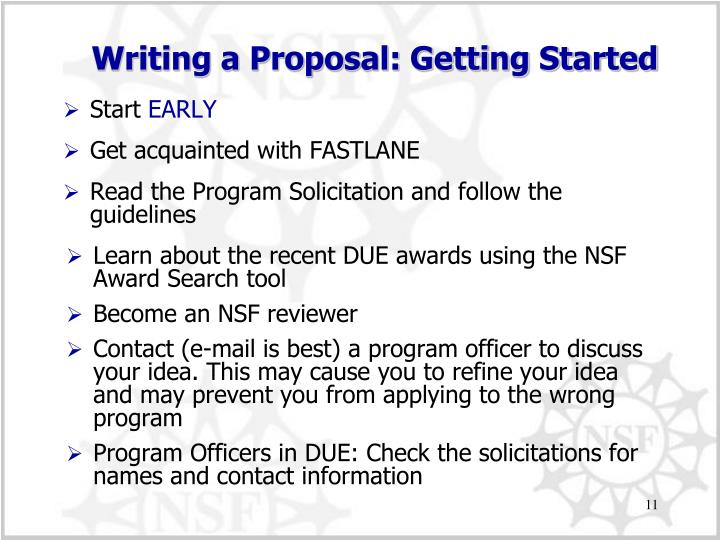 Writing a Proposal: Getting Started