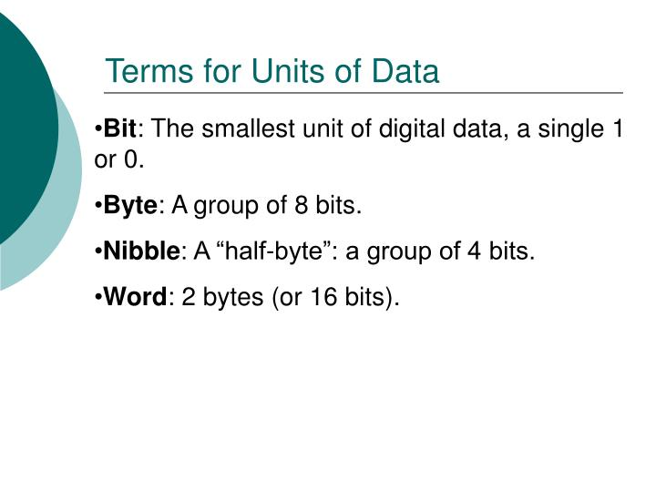 Terms for Units of Data