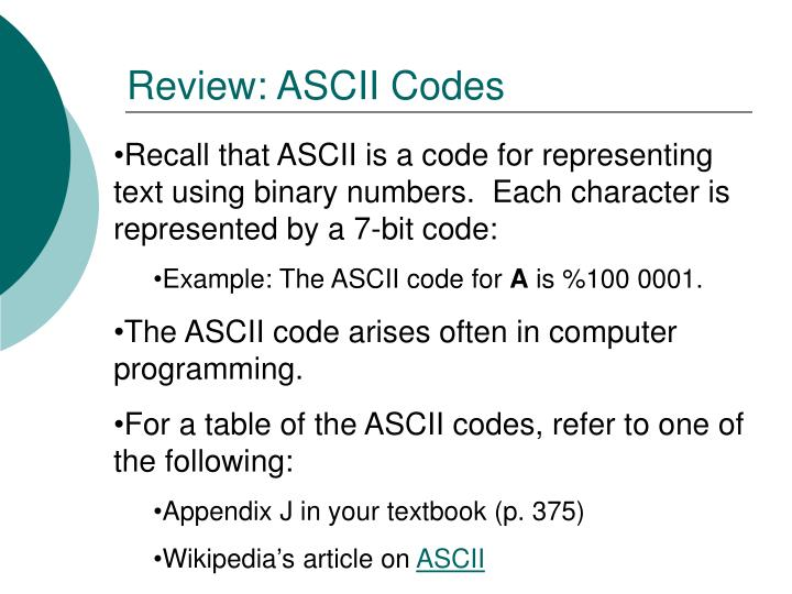 Review: ASCII Codes