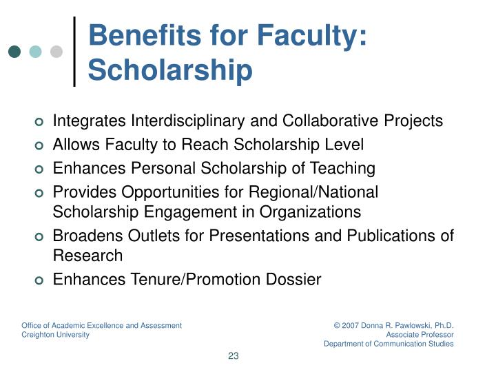 Benefits for Faculty: