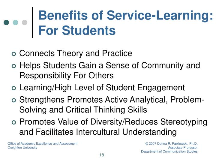 Benefits of Service-Learning: